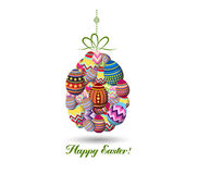 Easter Holiday Greeting Card with Set Egg shaped.  Stock Photos