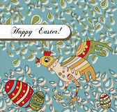 Easter Holiday Greeting With a Silly Chicken Stock Image