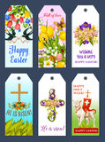 Easter holiday greeting tag and gift label set Stock Photos