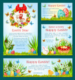 Easter holiday greetings banner template design Stock Photo