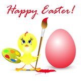 Easter holiday illustration with chicken Royalty Free Stock Images