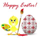 Easter holiday illustration with chicken Stock Image