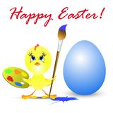 Easter holiday illustration with chicken Stock Images