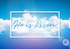 Easter Holiday illustration with cloud on blue sky background. He is risen. Vector Christian religious design for. Resurrection celebrate theme Stock Photo