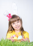 Easter holiday - kid coloring eggs Royalty Free Stock Image
