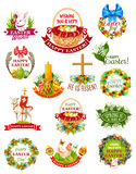 Easter holiday label, badge and symbol set Stock Images