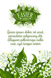Easter holiday lily flower greeting card design. Easter Wishes greeting card. White lily of the valley flowers with green leaves and text layout for your wishes Royalty Free Stock Photography