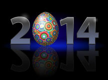 Easter in 2014. Easter holiday in 2014: metal numerals with colorful egg instead of zero having weak reflection. Illustration on black background Stock Photos