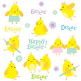 Easter holiday pattern with little chickens and decorations. Stock Image