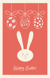 Easter Holiday Poster. Happy Easter Holiday poster, Easter eggs and ribbon and Rabbit, Easter Bunny. Greeting card red background. Vector Illustration, vintage royalty free illustration