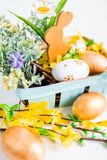 Easter holiday. rabbit and eggs Royalty Free Stock Photography