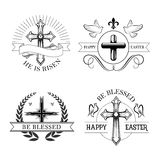 Easter holiday religious cross isolated emblem set Stock Photo