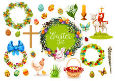 Easter holiday symbols with egg, rabbit, chicken Stock Photo