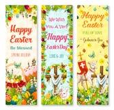 Easter holiday symbols greeting banner set design Stock Photos