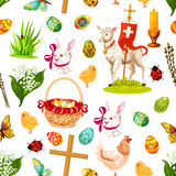 Easter holiday symbols seamless pattern background Royalty Free Stock Image