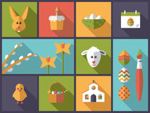 Easter holiday symbols vector illustration. Royalty Free Stock Images
