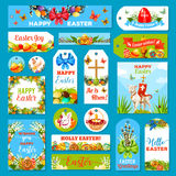Easter holiday tag and label set design Stock Photos