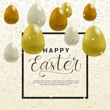 Easter Holiday Template Card Background With Lettering And Air Balloon Decoration. Vector Illustration Royalty Free Stock Image
