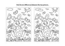Easter find the differences visual puzzle and coloring page with bunny and painted egg. Easter holiday themed find the ten differences picture puzzle and royalty free illustration