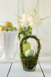 Easter Holiday Themed Still Life Scene in Natural Light Stock Photos