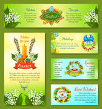 Easter holidays cartoon banner template set Stock Images