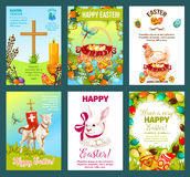 Easter holidays cartoon greeting card set Stock Photography