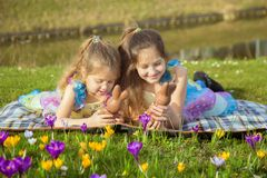 Easter holidays concept. Children with Easter chocolate bunny royalty free stock images