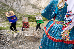 Easter holidays in the village of olympos island of Karpathos in greece. Followed by all the inhabitants of the village in traditional costumes. The venerated stock image