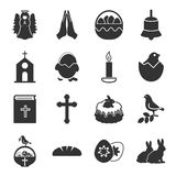 Easter, holy black simple icons set for web Stock Images