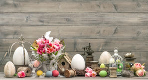 Easter. home interior decoration with pink tulips Royalty Free Stock Photos