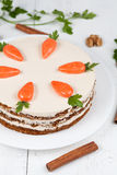 Easter homemade carrot cake with little carrots on Royalty Free Stock Photography