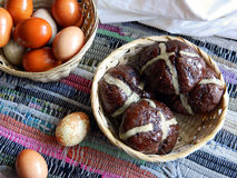 Easter. Homemade Easter eggs and chocolate buns with cherry Stock Photo