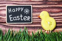 Easter homemade gingerbread cookie and a blackboard Royalty Free Stock Photo