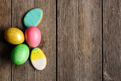 Easter homemade gingerbread cookie and eggs Stock Photos