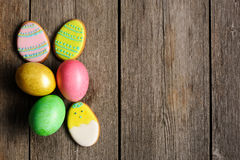 Easter homemade gingerbread cookie and eggs Royalty Free Stock Images
