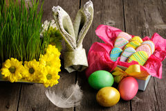 Easter homemade gingerbread cookie and eggs Royalty Free Stock Image