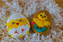 Easter homemade gingerbread cookies decorated with sugar icing Royalty Free Stock Photography