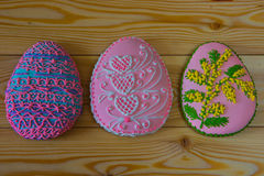 Easter homemade gingerbread cookies decorated with sugar icing Stock Image