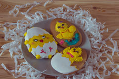 Easter homemade gingerbread cookies decorated with sugar icing Stock Images