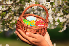 Easter homemade gingerbread cookies in spring Royalty Free Stock Photos