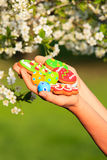 Easter homemade gingerbread cookies in spring Royalty Free Stock Photography
