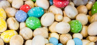 Easter horizontal background with wooden eggs - photo with selec Stock Images