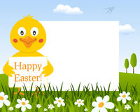 Easter Horizontal Frame with Cute Chick royalty free stock images