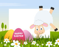 Easter Horizontal Frame with Eggs & Lamb stock photos