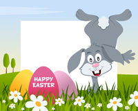 Easter Horizontal Frame with Eggs & Rabbit royalty free stock images