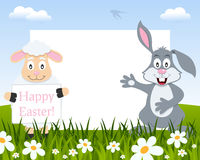 Easter Horizontal Frame - Lamb and Rabbit stock photo