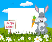 Easter Horizontal Frame - Rabbit with Carrot royalty free stock photography