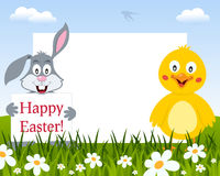 Easter Horizontal Frame - Rabbit and Chick stock photos
