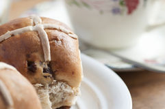 Easter hot cross bun Royalty Free Stock Images