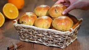 Easter hot cross buns in a basket.  stock video footage